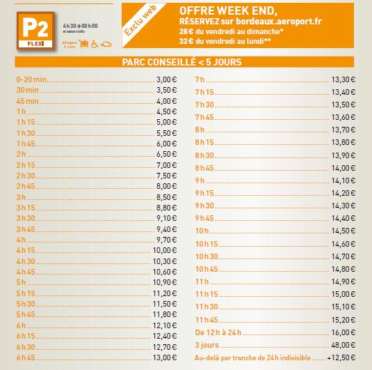 prix parking aeroport Bordeaux P2 flexi