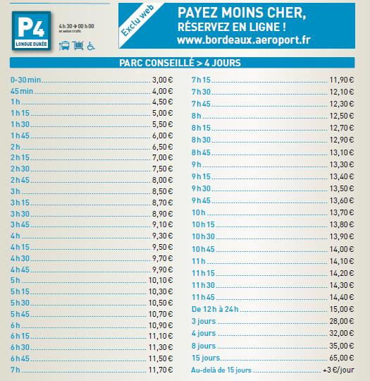 prix parking aeroport Bordeaux P4 longue durée